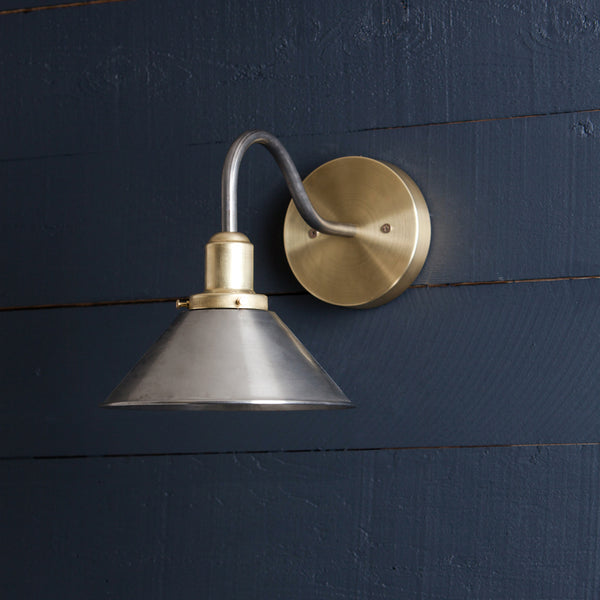 Brass and Steel Metal Shade Gooseneck Wall Sconce