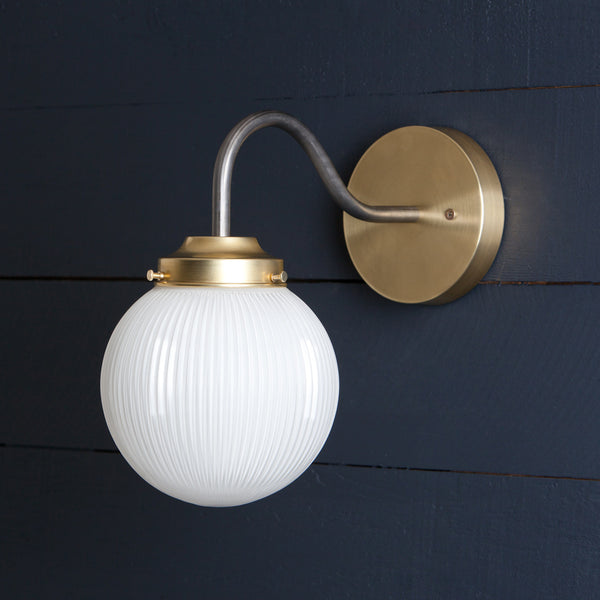 Gooseneck Holophane Glass Globe Wall Sconce