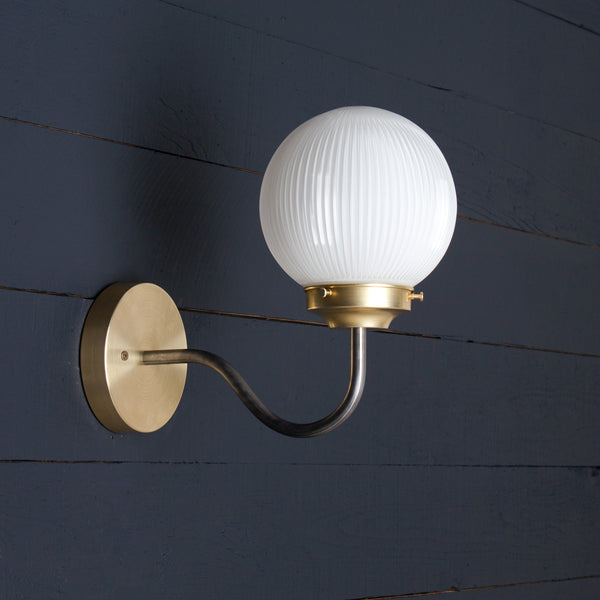 Gooseneck Holophane Milk Glass Sconce