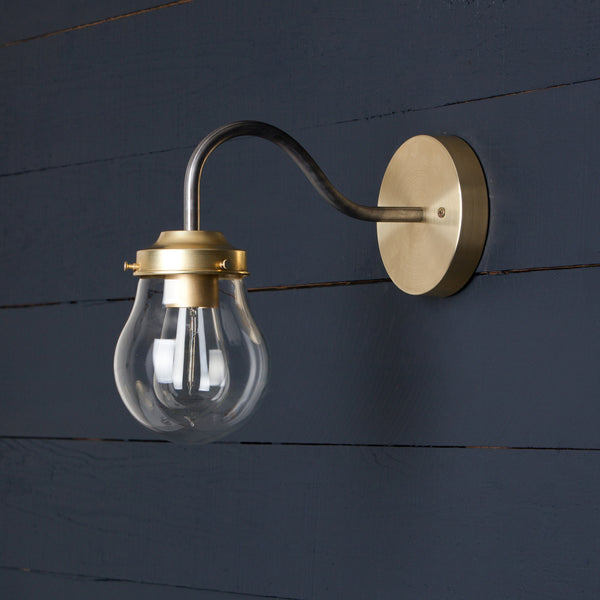 Gooseneck Teardrop Glass Wall Sconce
