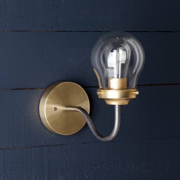 Brass and Steel Mixed Metals Wall Sconce Light