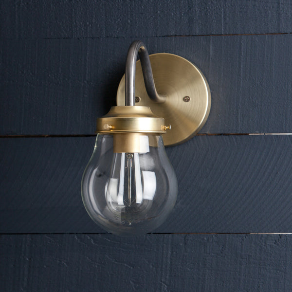 Gooseneck Brass and Steel Mixed Metal Wall Sconce Light