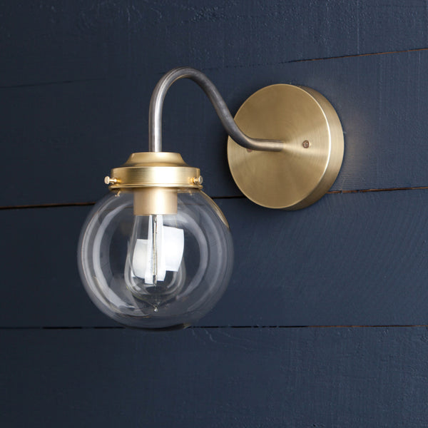 Clear Glass Globe Wall Sconce