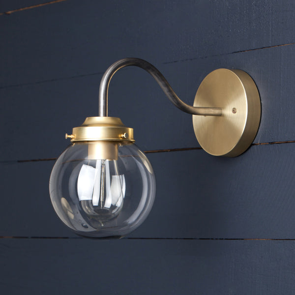 Gooseneck Clear Globe Wall Sconce Light