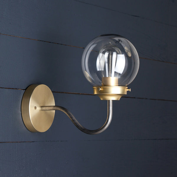 Clear Glass Globe Wall Sconce Two Kings Amp Co