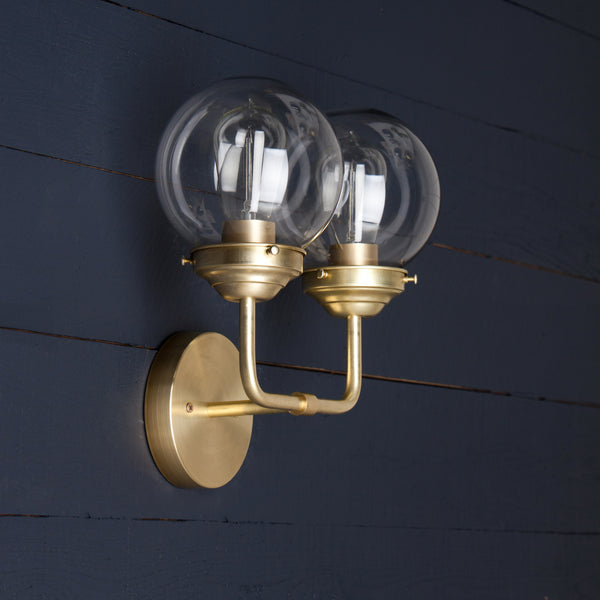 Mid Century Clear Glass Globe Sconce