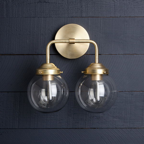 Double Brass Glass Globe Vanity Light