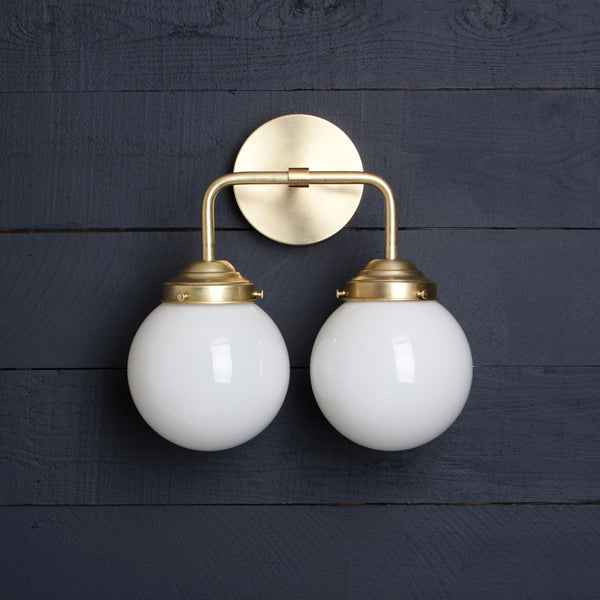 Double Milk Glass Globe Brass Light