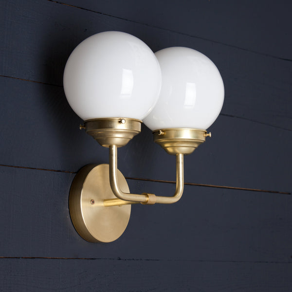 Double Milk Glass Brass Wall Vanity Light