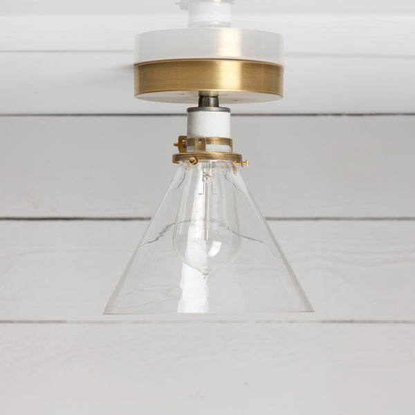 Glass Cone Shade Ceiling Light