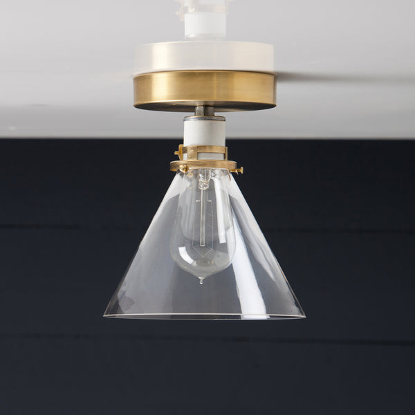 Clear Glass Cone Shade with Brass Ceiling Mount Light