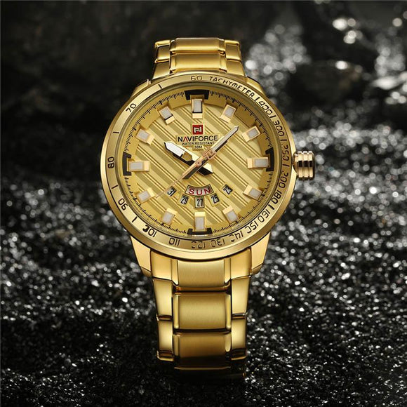 NaviForce Luxury Golden Watch - Shopodium