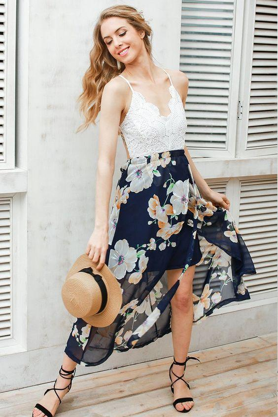 Backless Floral Print Patchwork Lace Chiffon Dress