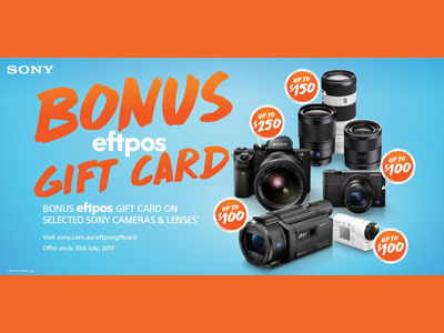 Sony Australia Tax Time BONUS eftpos Gift Card Promotion
