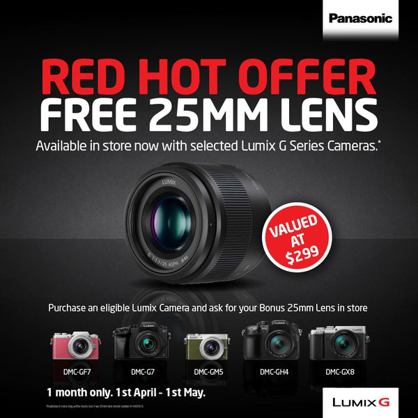 Grab Your Bonus LUMIX 25mm Lens in Store Today!