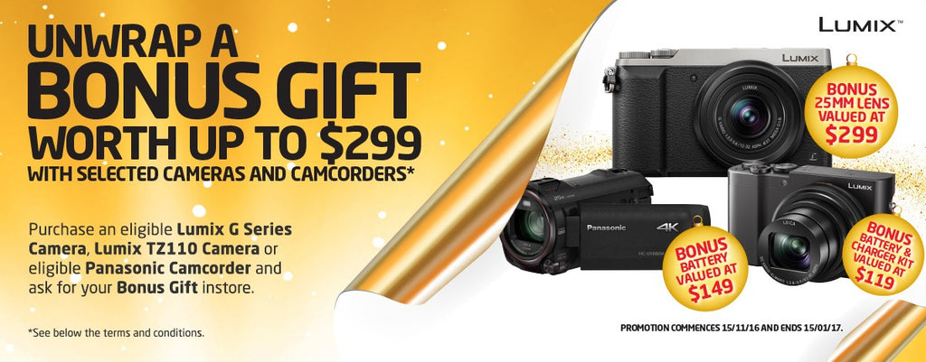 Unwrap a BONUS GIFT worth up to $299 with selected cameras and camcorders