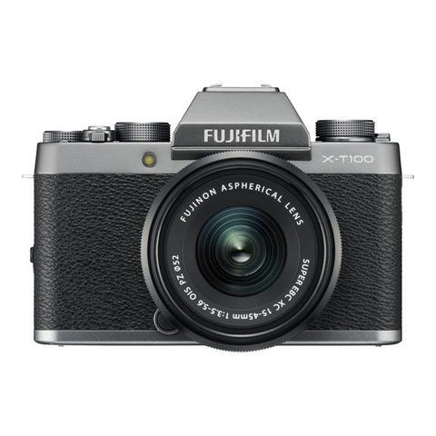 Fujifilm X-T100 Single Lens Kit with XC15-45mm Lens - Dark Silver - BONUS BATTERY