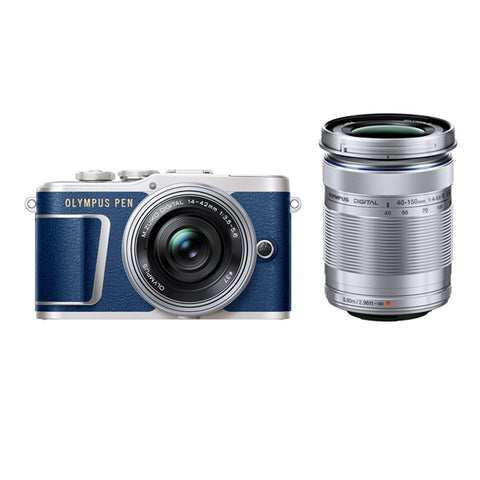 Olympus PEN E-PL9 Twin Lens Kit with 14-42mm & 40-150mm Lenses - Blue