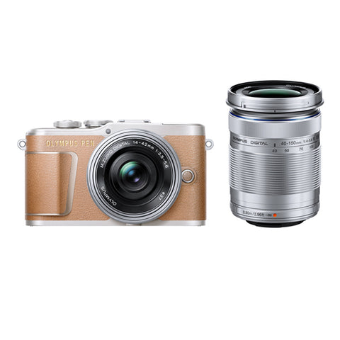 Olympus PEN E-PL9 Twin Lens Kit with 14-42mm & 40-150mm Lenses - Brown