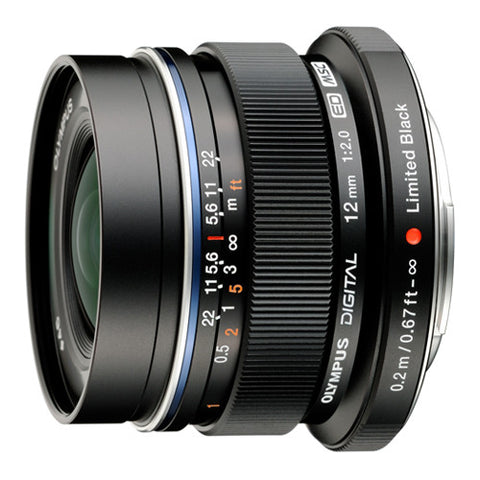 Olympus M.Zuiko Digital 12mm f2.0 Super Wide Prime Lens - Black