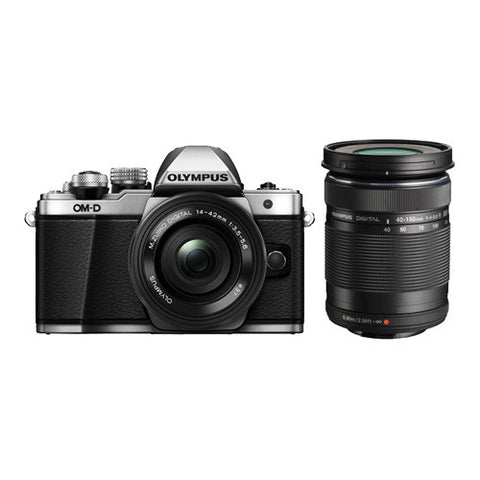 Olympus OM-D E-M10 Mark II Twin Lens Kit with 14-42mm EZ & 40-150mm Lenses - Silver