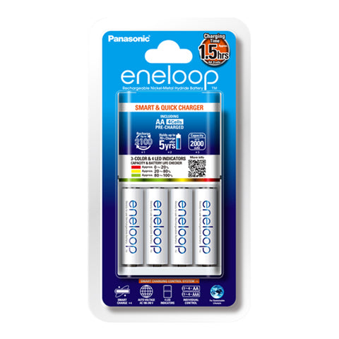 Panasonic Eneloop 1.5-hour Quick Charger with 4 x AA Batteries