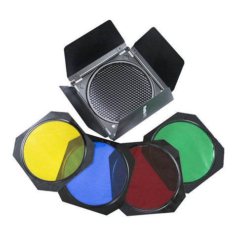 Phottix Barndoors, Grid and Gel Set for 7-inch Reflectors