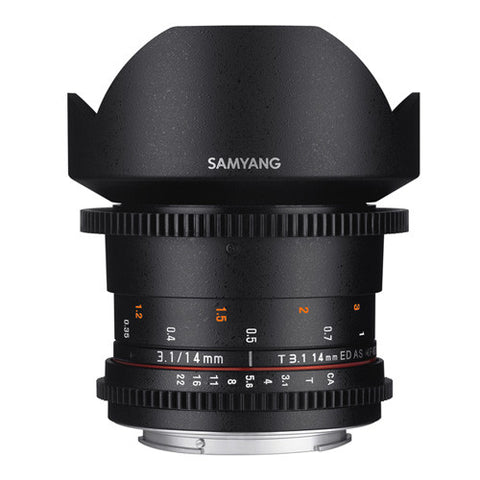 Samyang 14mm T3.1 ED AS IF UMC II VDSLR Cine Lens - Canon Mount