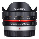Samyang 7.5 mm F3.5 UMC Fisheye Lens - Micro Four Thirds Mount - Black