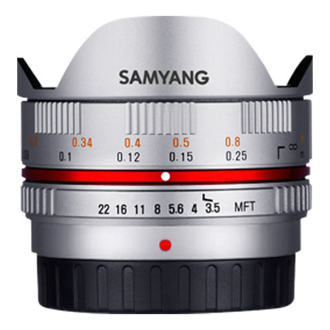 Samyang 7.5mm F3.5 UMC Fisheye Lens - Micro Four Thirds Mount - Silver