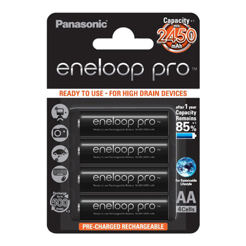 Panasonic Eneloop Pro Rechargeable AA Batteries - 4 Pack