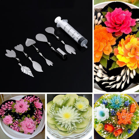 Image of 3D Gelatin Art Tools - Set of 10 PCS Stainless Steel Jelly Cake Needles Coming with One Syringe - Pudding Pastry Nozzles (Flower Shape 1) - Your Lifestyle Corner