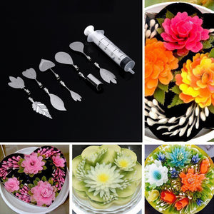 3D Gelatin Art Tools - Set of 10 PCS Stainless Steel Jelly Cake Needles Coming with One Syringe - Pudding Pastry Nozzles (Flower Shape 1) - Your Lifestyle Corner