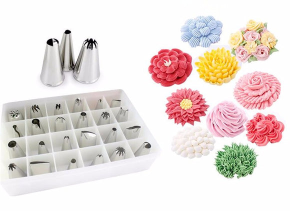 Large Stainless Steel Icing Piping Nozzles Pastry Tips ( 24-Piece Set )
