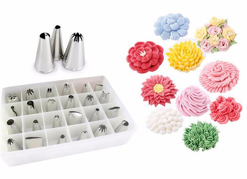 24 Piece Set Of Stainless Steel Icing Nozzles FREE