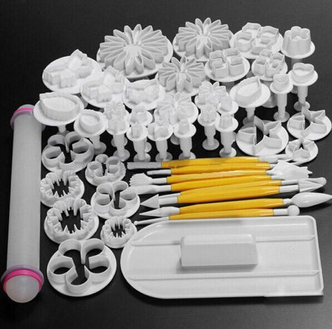 Flower Fondant Cake Sugarcraft Decorating Kit Cookie Mold Icing Plunger Cutter Tools 46 Pieces, Assorted Professional Flower Cake Designs