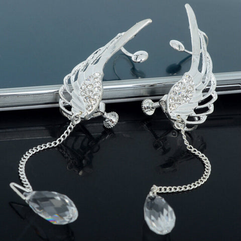 Image of Elegant Silver Angel Wing Earrings - Your Lifestyle Corner