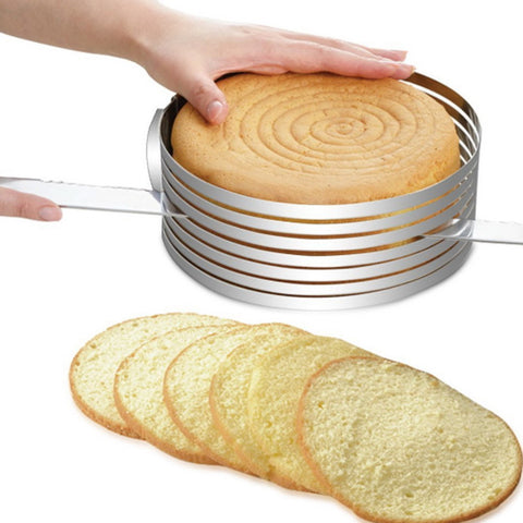 Adjustable 7 Layer Stainless Steel Round Cutter, DIY Layered Cake Slicer