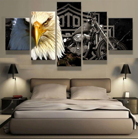 Image of 5 PIECE MOTORCYCLE & EAGLE CANVAS WALL ART - Your Lifestyle Corner