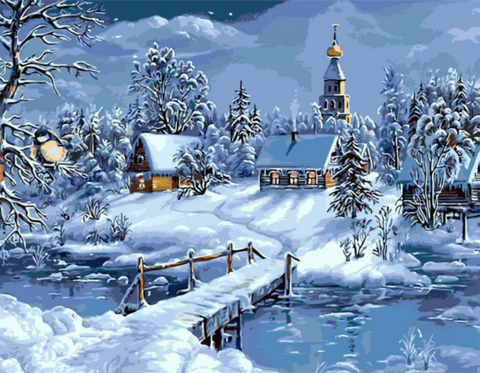 Christmas Snow Landscape DIY Painting - Your Lifestyle Corner