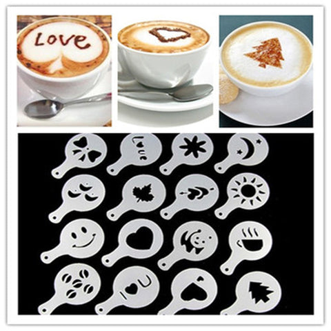 Image of 16 Pieces Barista Coffee Stencil - Your Lifestyle Corner