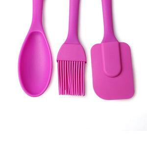 Silicone Spatula, Spoon & Brush Three Piece Set - Your Lifestyle Corner