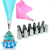 Cake Decoration Set - Includes 12 Stainless Steel Piping Nozzles & Silicone Bag - Your Lifestyle Corner