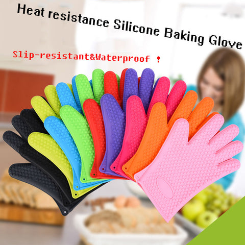 Image of Slip-resistant Food Heat Resistant Thick Silicone Kitchen Oven Gloves - Your Lifestyle Corner