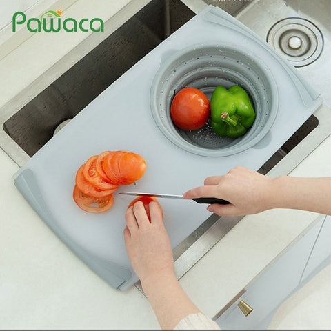 3 IN 1 Multi-function Sink Drain Basket Cutting Board Filter Chopping Blocks Meat Vegetable Fruit Basket Storage Chopping Board - Your Lifestyle Corner
