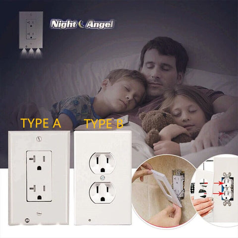 Image of OUTLET WALL PLATE WITH LED NIGHT LIGHTS-NO BATTERIES OR WIRES [UL FCC CSA CERTIFIED] - Your Lifestyle Corner