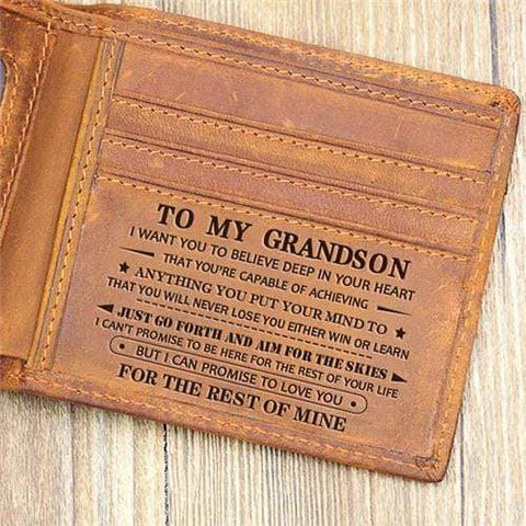 Image of To My Grandson - Never Lose- Genuine Leather Wallet - Your Lifestyle Corner