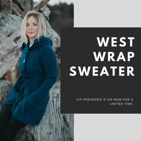 Close up details of The West Wrap Bamboo Sweater.
