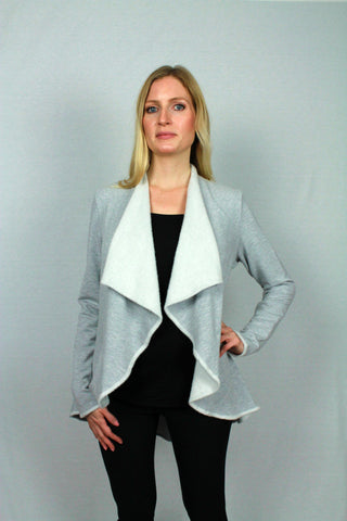 Bamboo Clothing merino blend sweater in a jacket style.