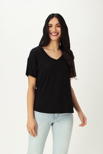 Womens bamboo tshirt- v-neck - LNBF clothing - Leave nothing but footprints bamboo clothing